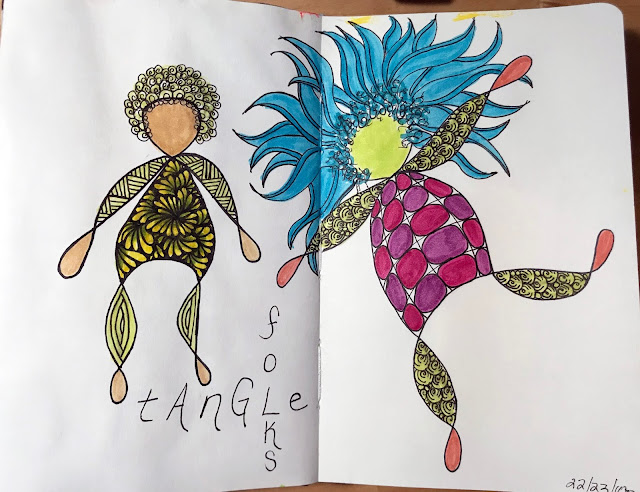 days 22 and 23 of The 100 Day Project,  Alice Hendon, tangle Folks
