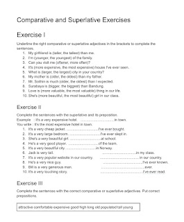 Comparative And Superlative Adjectives exercises with answer, downloadable and printable exercises for free