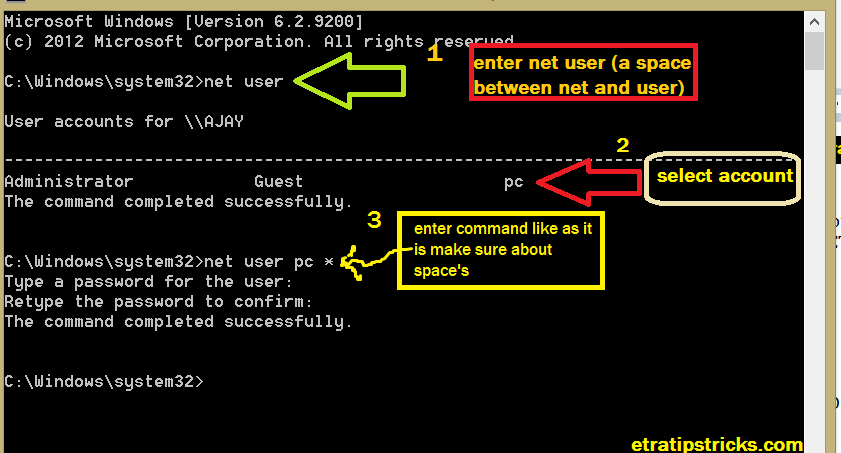 Changing Administrator Password using CMD(command prompt)