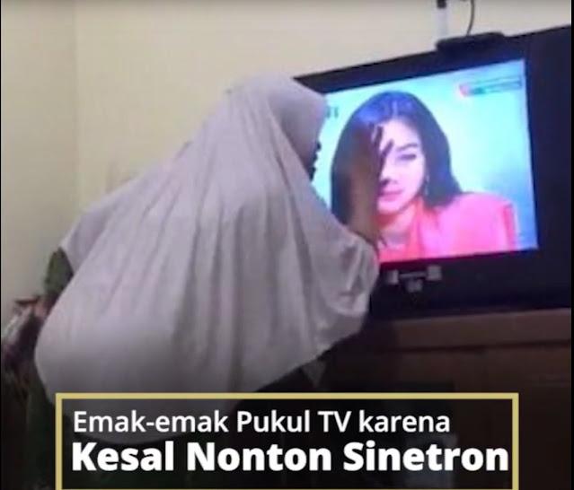 Viral Video Emak-emak Pukul Layar TV karena Kesal Nonton Sinetron, Antena sampai Jatuh