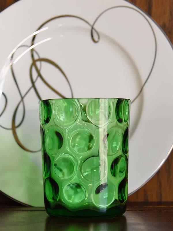 Antique green coinspot tumbler