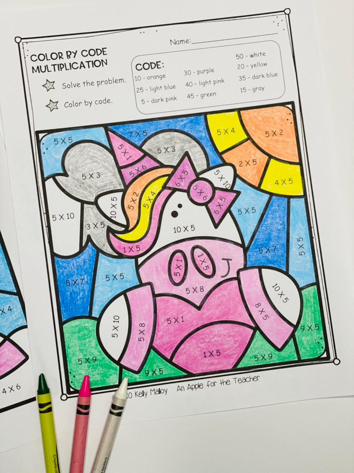 An Apple For The Teacher: Unicorn Color By Number