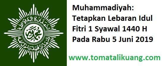 muhammadiyah lebaran idul fitri 1 syawal 1440 hijriyah; 5 juni 2019; tomatalikuang.com