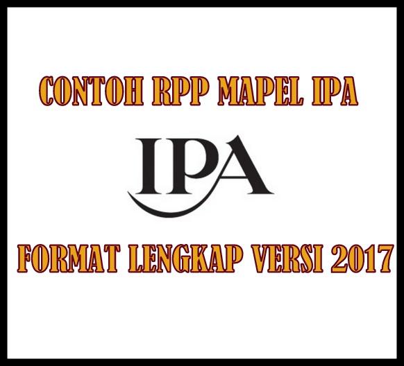 Contoh RPP Mapel IPA SD/MI Format Lengkap Versi 2017