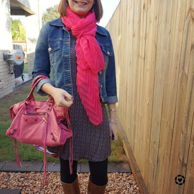 awayfromtheblue instagram | shift dress in winter for church with pink accessories scarf and Balenciaga city bag