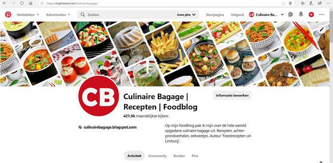 Het Pinterest-account van Culinaire Bagage