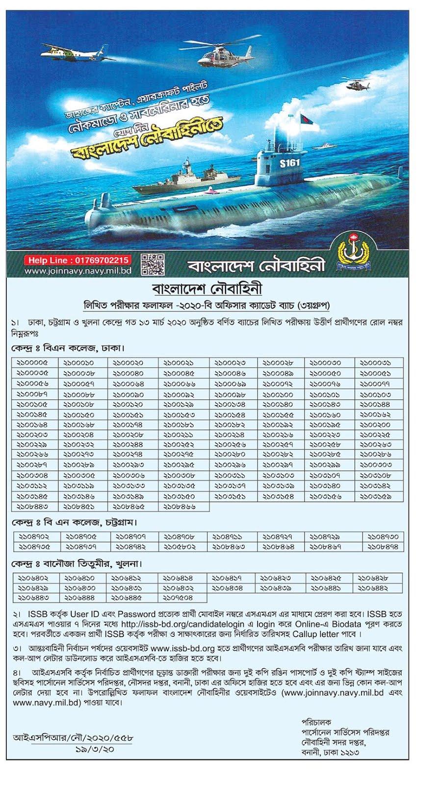 বাংলাদেশ নৌবাহিনী লিখিত পরিক্ষার ফলাফল