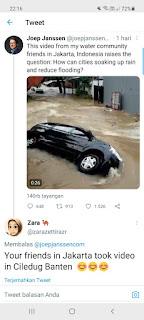 Bule Salah Gaul! Sebar Video Banjir Banten, Tapi Disebutnya Banjir Jakarta, Dihajar Netizen Akhirnya Twit Dihapus