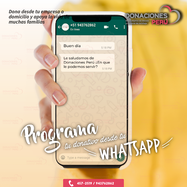 Programa tu donativo - Whatsapp - Donativo - Dona y recicla - Recicla y dona - Donaciones Perú
