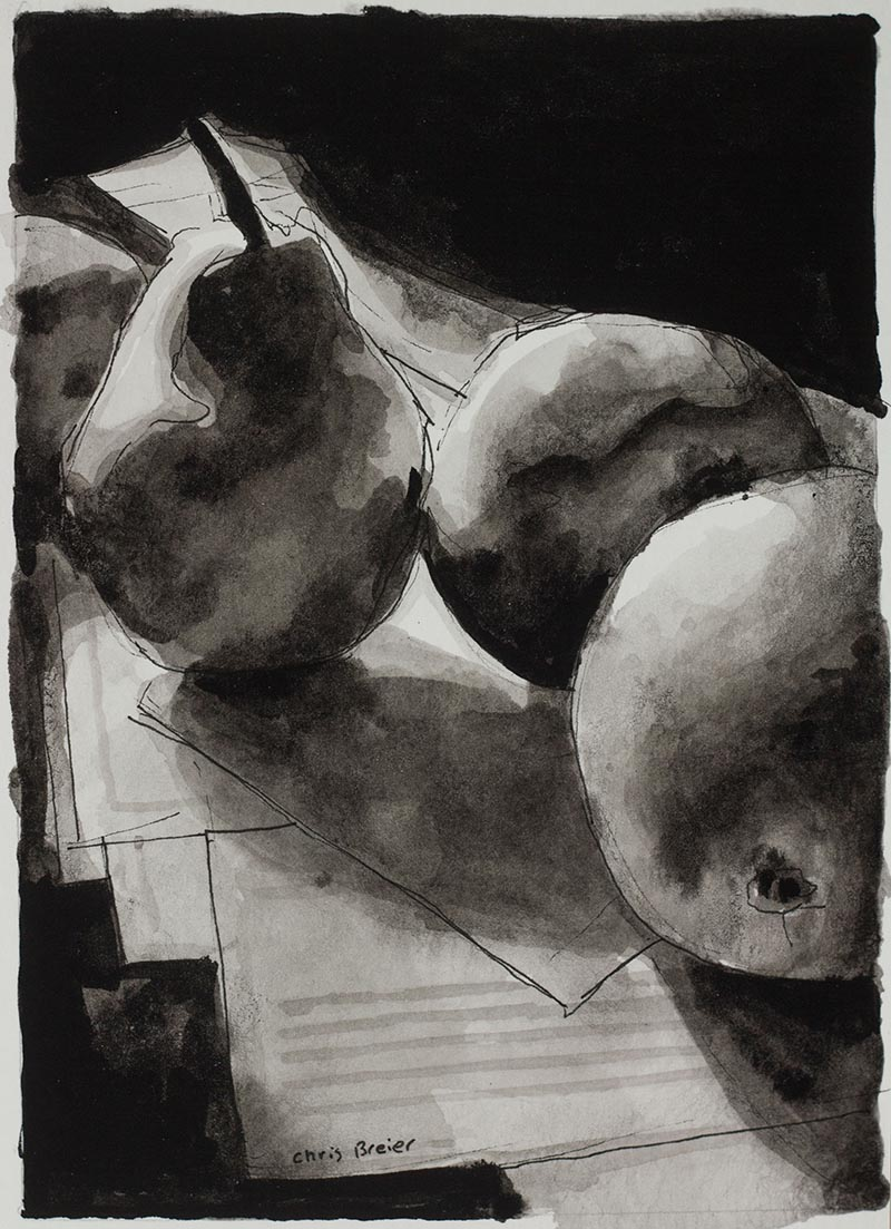 Still life ink drawing of fruit on a kitchen table