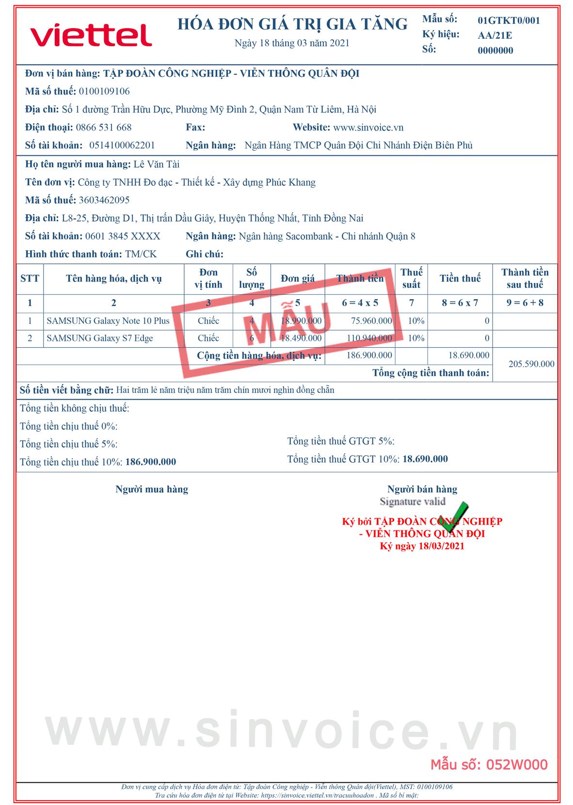 Mẫu hóa đơn điện tử số 052W000