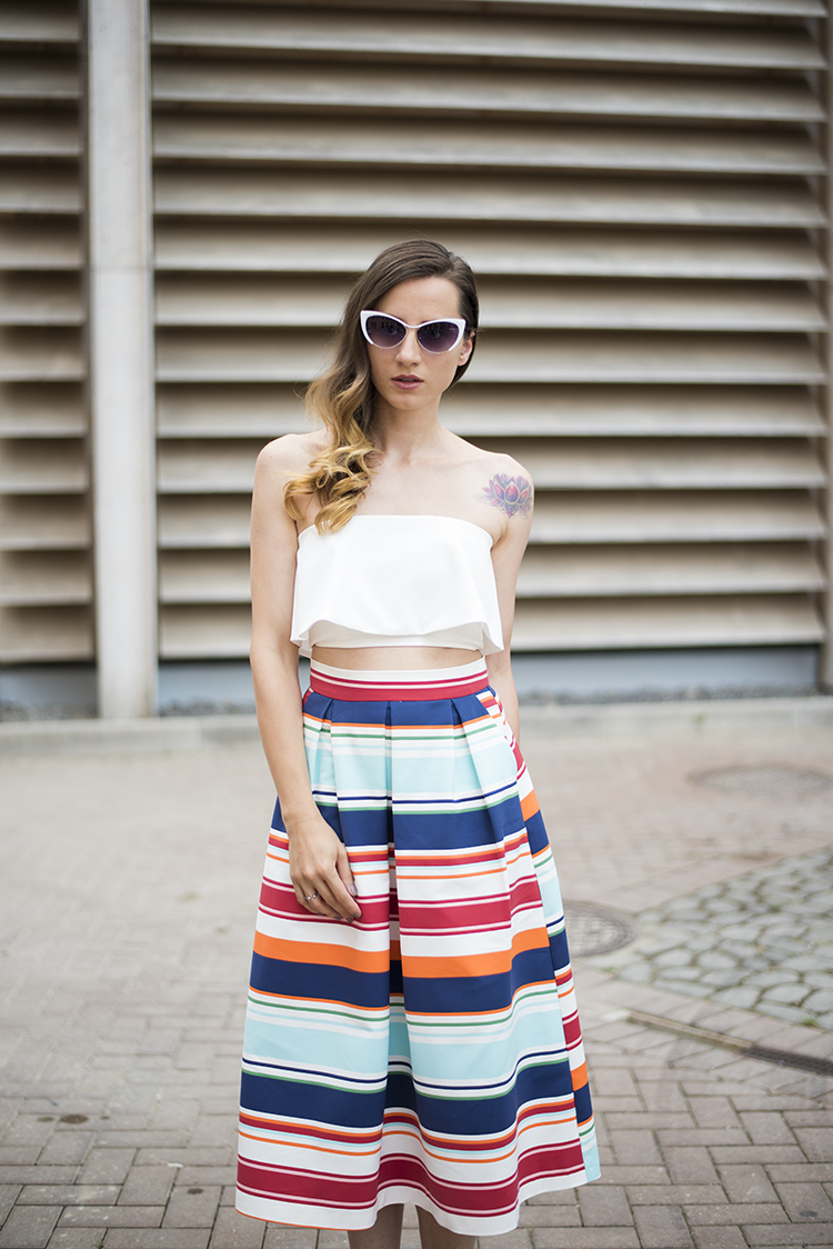 Skinny Buddha ruffle crop top multi colored striped midi skirt