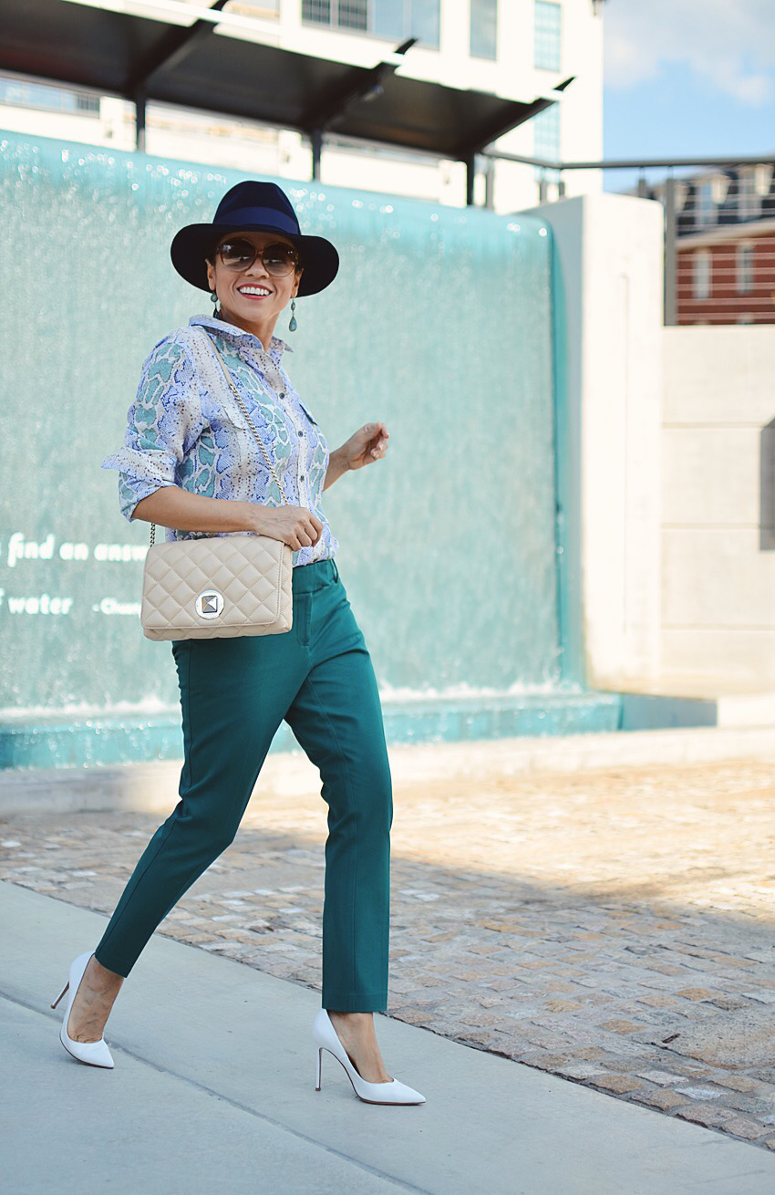 Teal pants street style