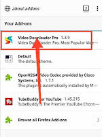 Video downloader Pro Extension add on added to Firefox android, chrome extension on android
