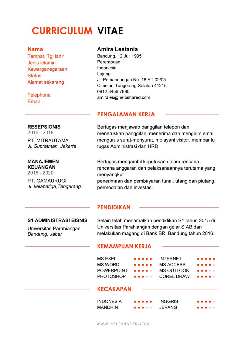 Daftar Riwayat Hidup word pdf doc cv