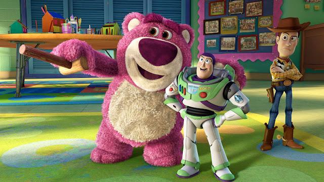 Imagen de la película de Disney Pixar Toy Story 3 con Lotso, Buzz LightYear y Woody