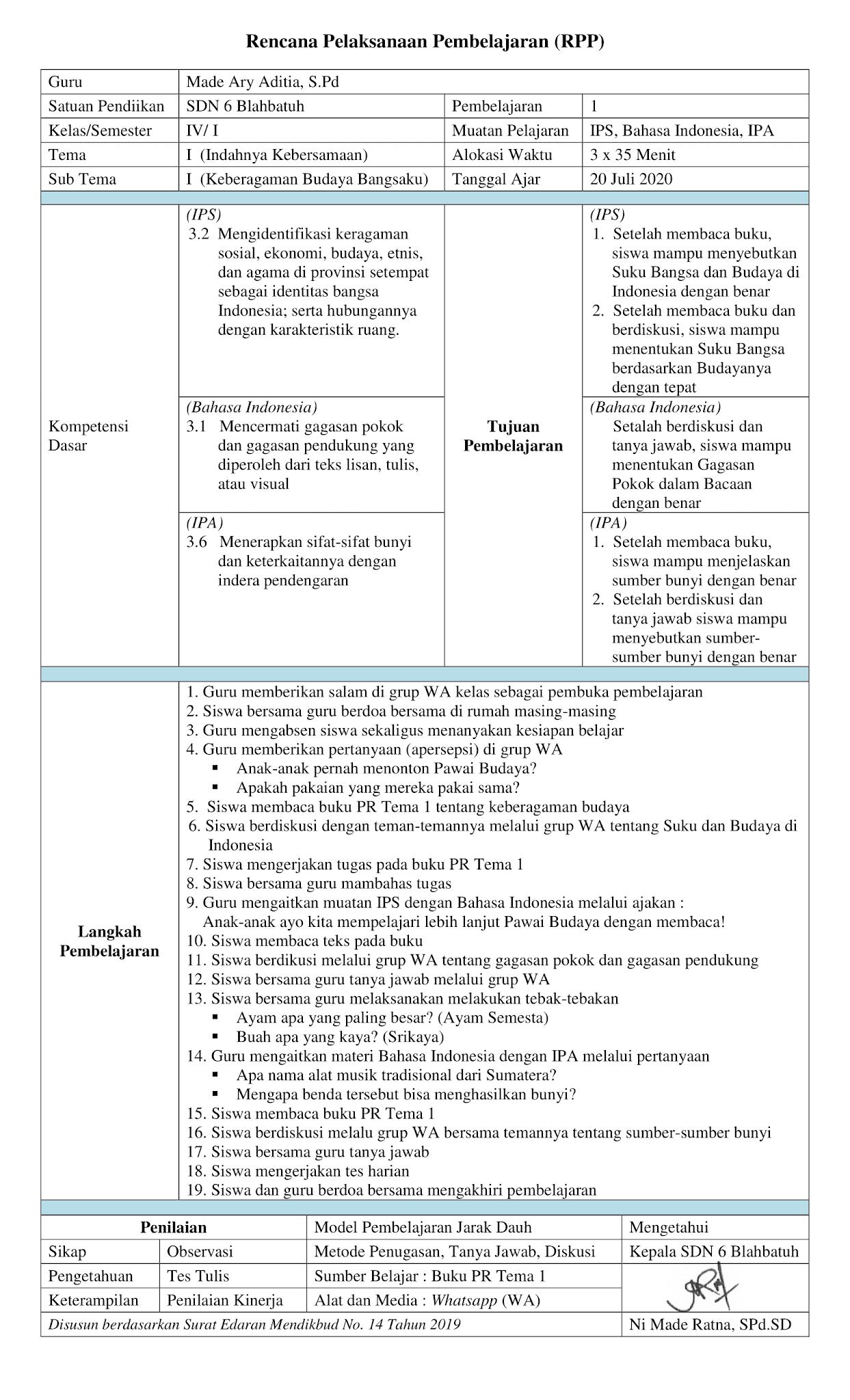 Contoh RPP Daring 1 Lembar Kelas IV