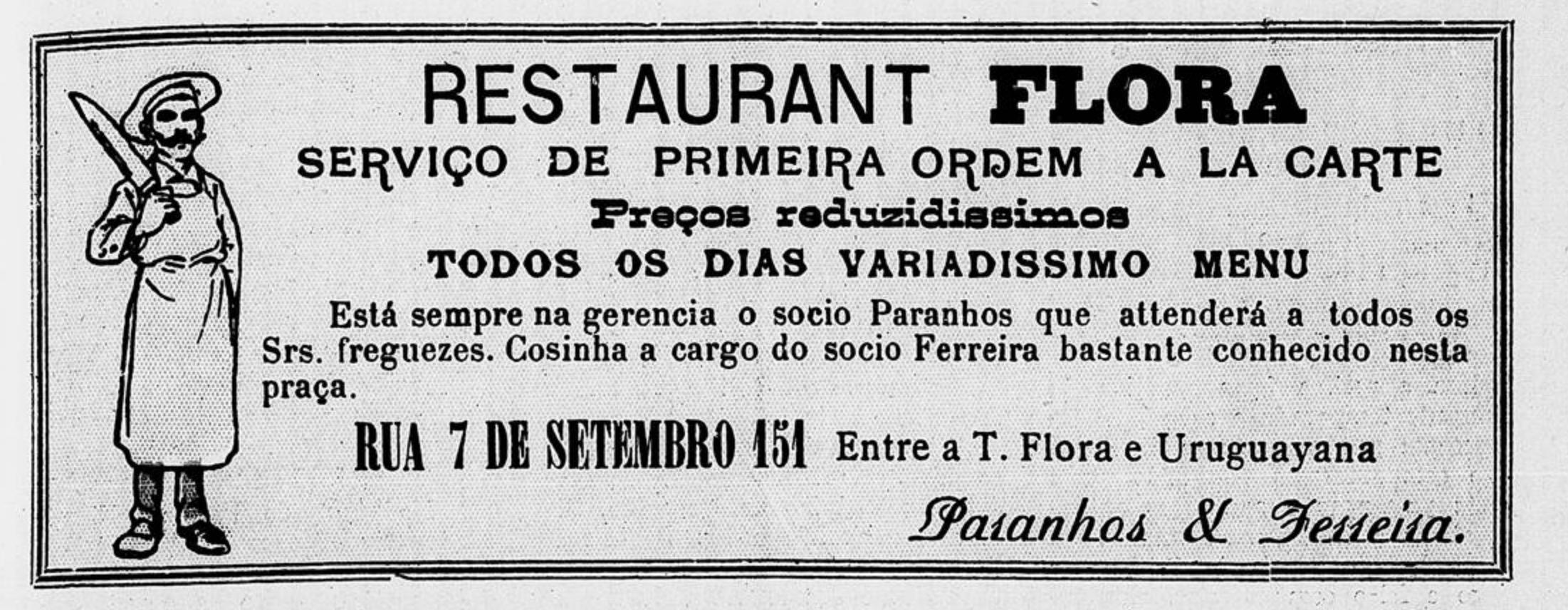 Propaganda antiga do Restaurante Flora, no Rio de Janeiro em 1909