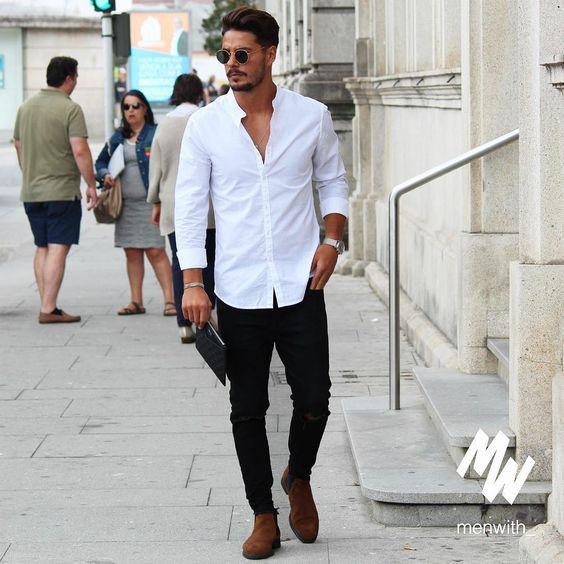 705f5edde8 Começando com uma pegada mais neutra, Camisa Branca, Calça Preta Jeans e  Chelsea Boot Marrom, gosto dessa pegada, fica alinhado, sem ser formal, ...