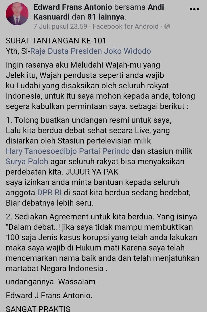 Viral! Pria Cilegon Ini Ingin Ludahi Jokowi: Hei Raja Dusta, Tolong Kabulkan Permintaan Saya!