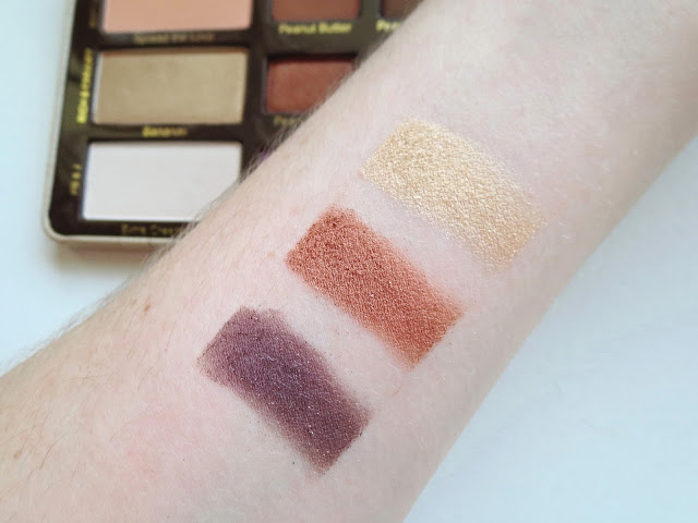 a picture of Too Faced Peanut Butter And Jelly Palette Swatches (Bananas, Peanut Brittle, Jammin')