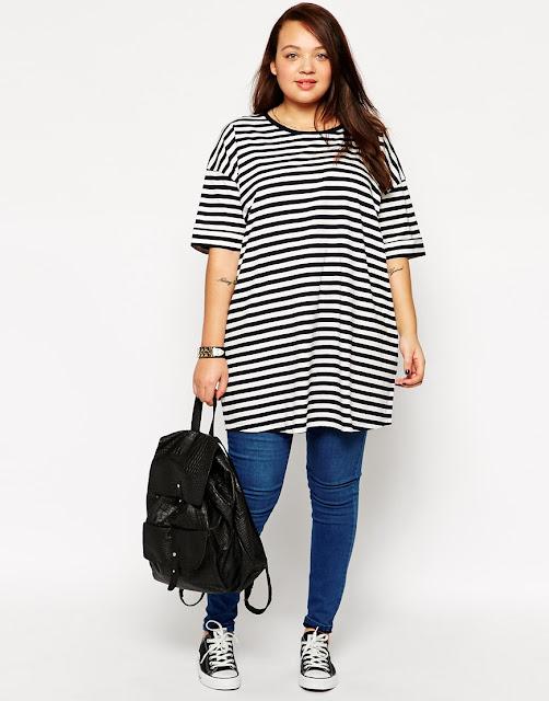 Model Baju Santai Wanita gemuk Motif Garis