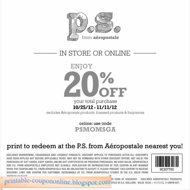 Free aeropostale coupons