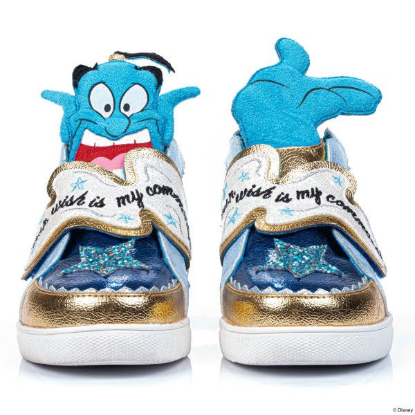 front view of blue and gold kids trainers with Disney Genie character tongue