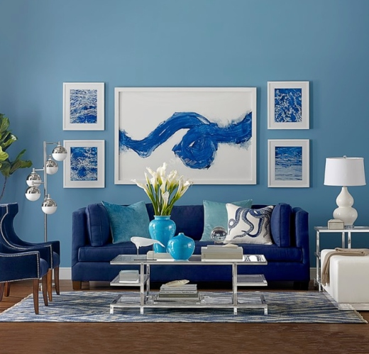 Dark Blue Painted Living Room Idea Color Scheme Wall Paint
