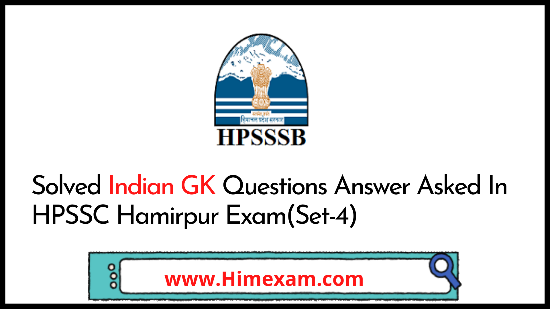 Solved Indian GK Questions Answer Asked In HPSSC Hamirpur Exam(Set-4)