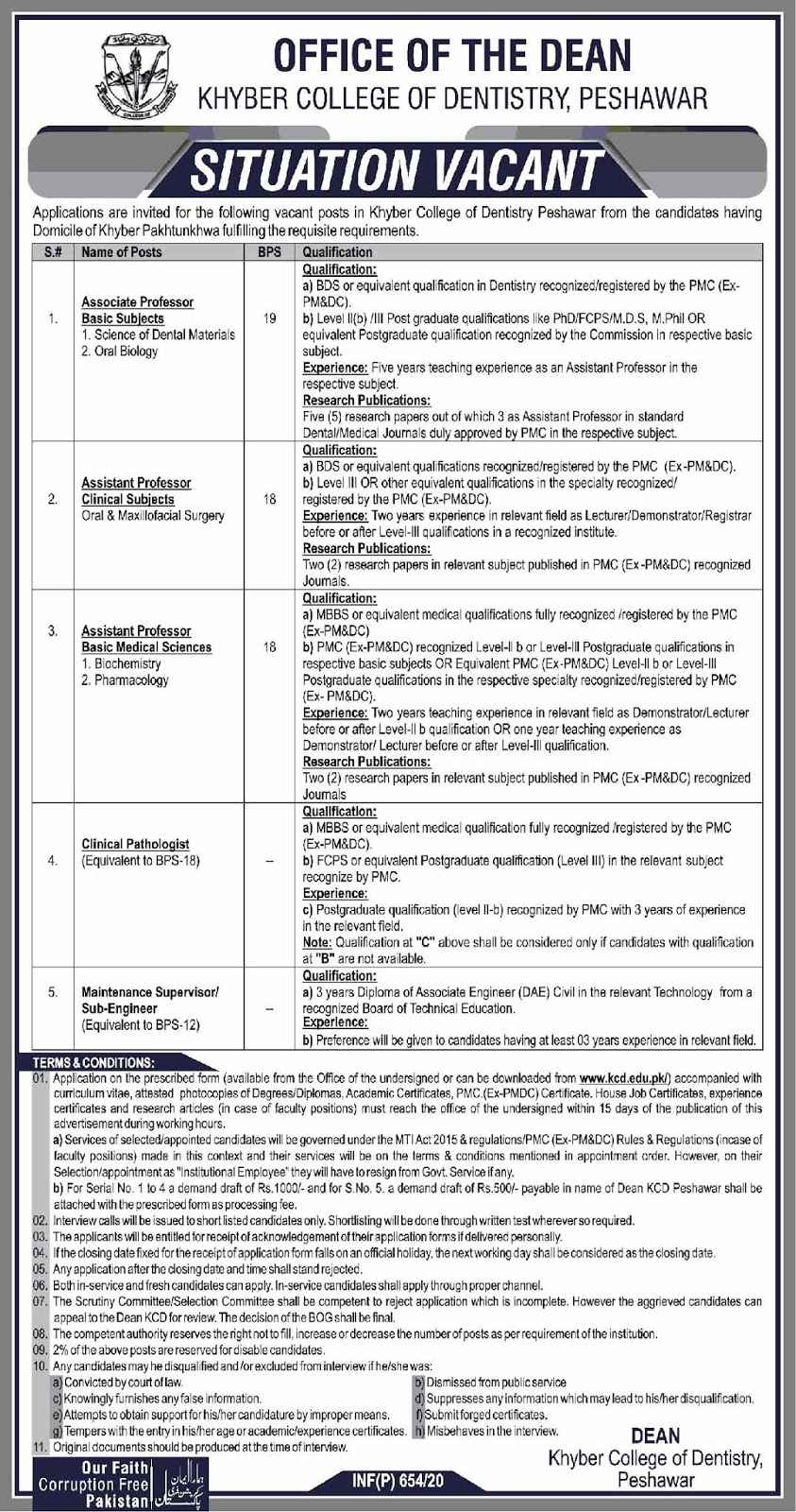 Khyber College Of Dentistry Peshawar Jobs For Assistant Professor, Associate Professor and Others February 2020