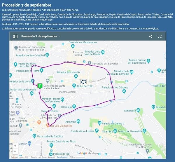 Mapa con el Itinerario Procesión Virgen de la Aurora de Granada hoy a las 19:00
