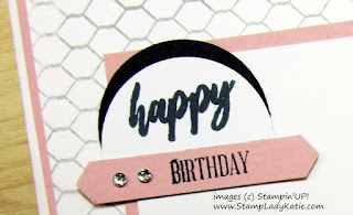 close up of sentiments layered using circle punches and Stampin'UP!'s Classic Label Punch