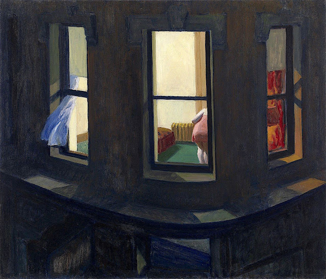 an Edward Hopper painting, three windows at night