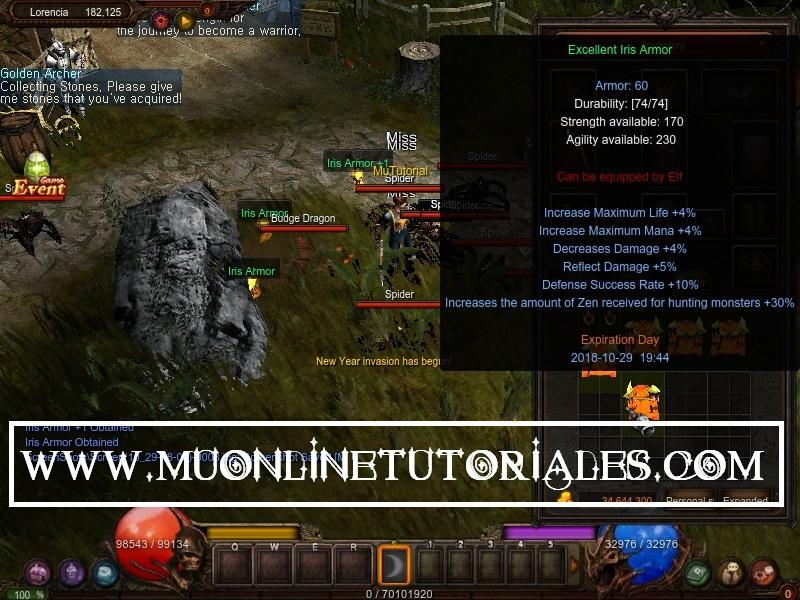 Visualizando el drop de la Armor iris dentro del juego