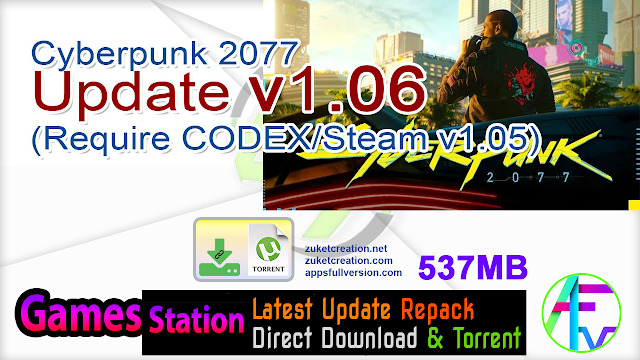 Cyberpunk 2077 Update v1.06 (Require CODEX Steam v1.05)