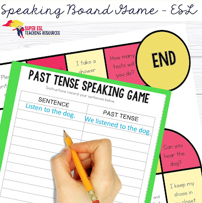 Have fun with your ESL students with these this super simple and fun Past Tense Board Game Speaking Games for Adults Students will get a board game printable to work on with their friends in groups of 3 or more, and they will use dice to roll and read the sentence they land on. They will then conjugate the sentence to a past tense form.
