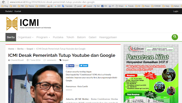 ICMI Desak Pemerintah Tutup Youtube dan Google PADAHAL Website Mereka Pencariannya Pakai API Google Search! Ngaca dulu sebelum Bicara!