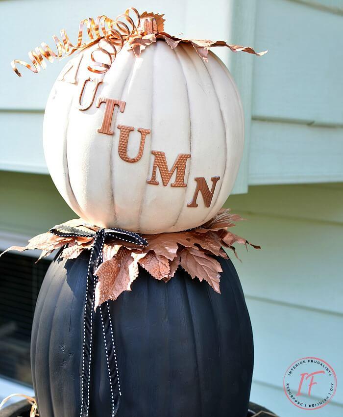 Faux Pumpkin Autumn Topiary Stacked Pumpkin Decor