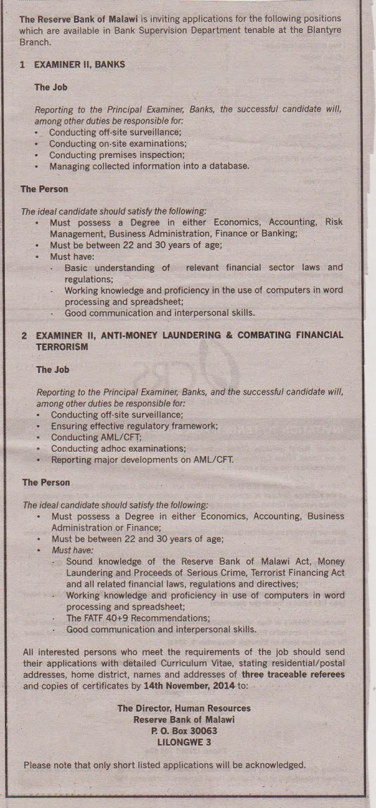 Reserve Bank Of Malawi Jobs 11 3 2014