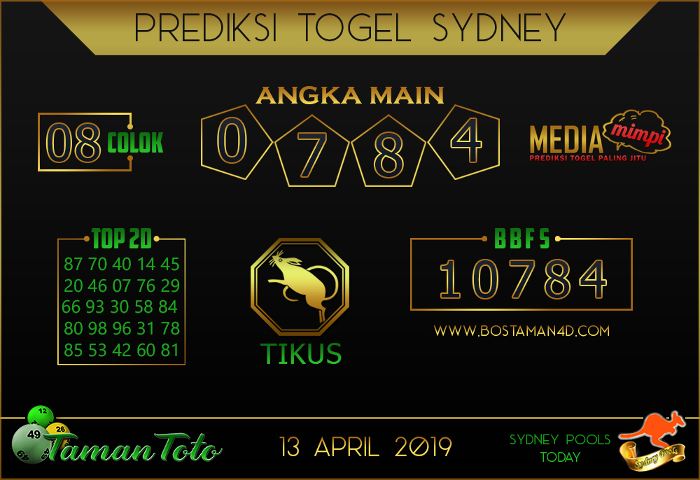 Prediksi Togel SYDNEY TAMAN TOTO 13 APRIL 2019