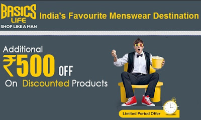 Enjoy Rs.500 extra Off on Purchase worth Rs.1250 at Basics Life