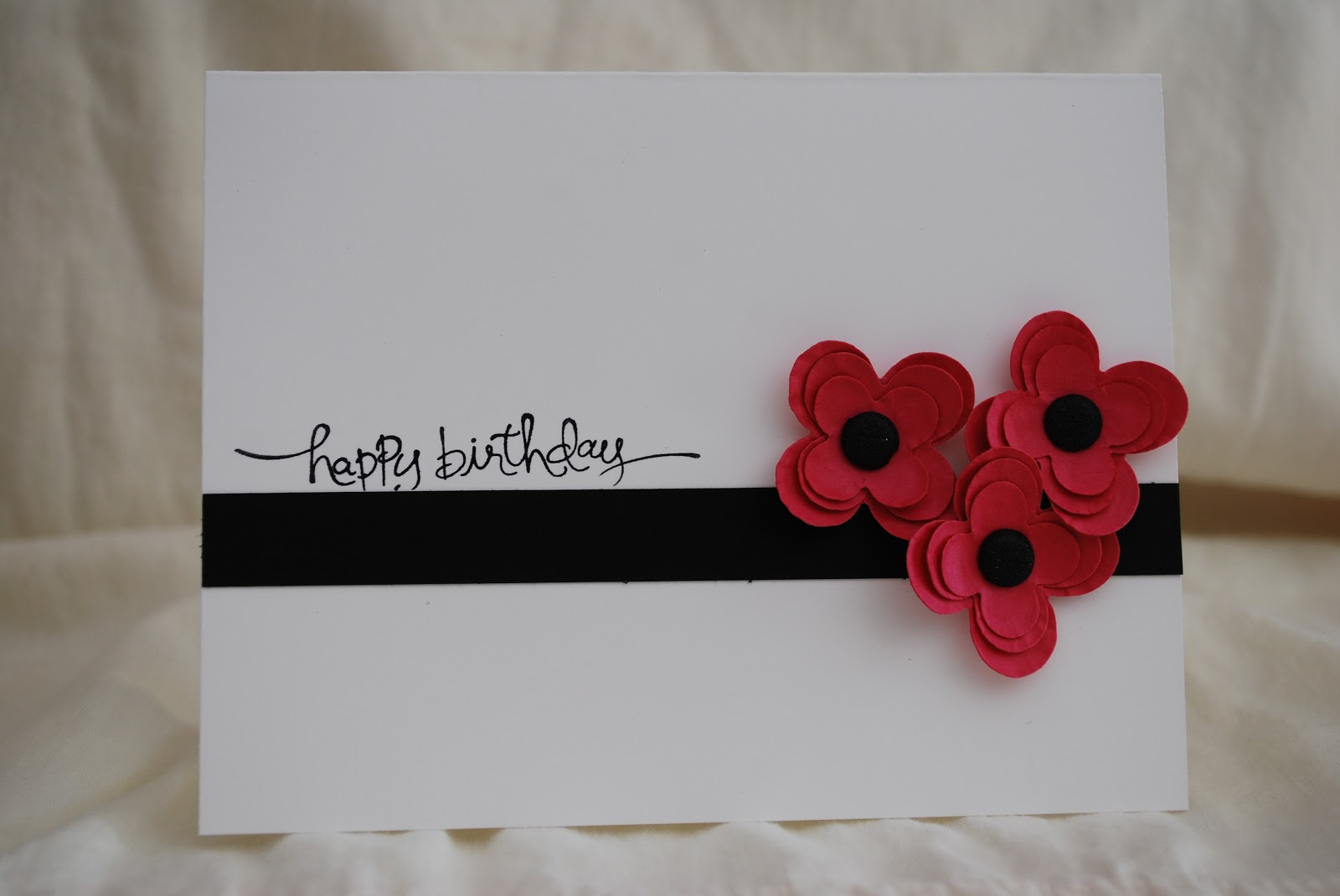 simplycrafted simple happy birthday card with flowers
