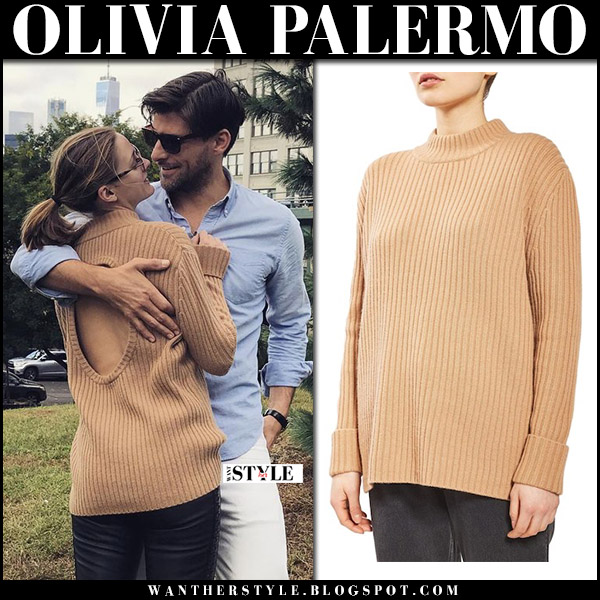 Olivia Palermo in brown camel knit open back sweater with Johannes Huebl instagram october 15 2017 fall fashion