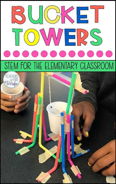 STEM Challenge- Build a tower that features a bucket! This challenge is a kid-favorite! #teachersareterrific #STEM