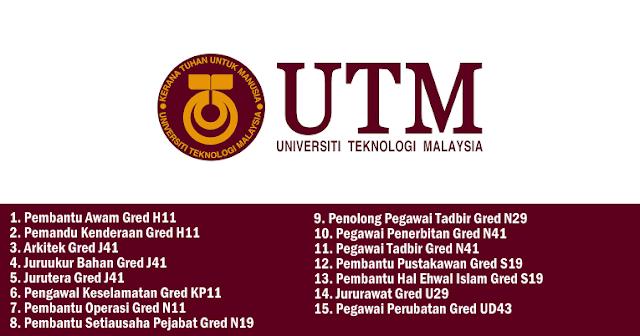 jawatan kosong 2019 universiti teknologi malaysia