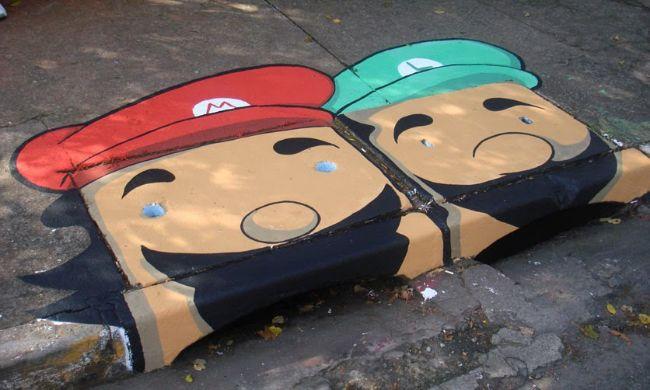 Storm Drain Art- Super Mario Brothers
