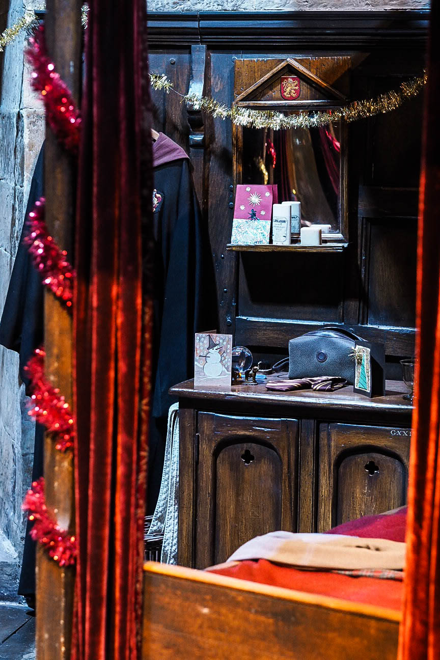 Gryffindor boys bedroom at Hogwarts in the Snow at Warner Brothers Studio Tour, London