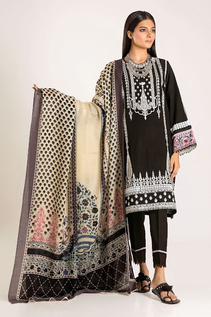 khaadi winter collection embroidered black color 3 piece suit
