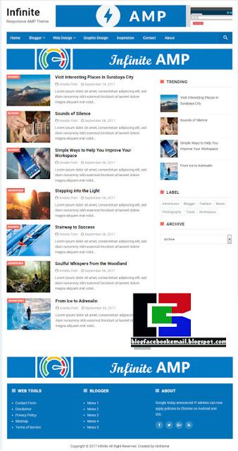 download template keren untuk blogger infiniteAMP gratis